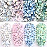Ranvi 4pack smalto per unghie brillare opale strass 3D nail art kit di strass diamante di cristallo strass e decorazioni per unghie gemma pietra