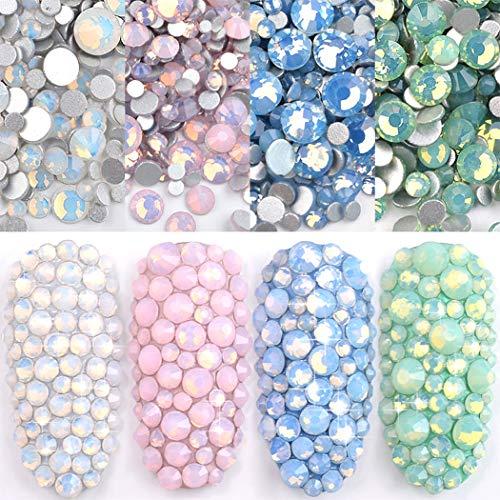Ranvi 4er Pack Nagellack Shine Opal Strass 3D Nail Art Strass Kit Crystal Diamond Strass und Nail Dekoration Edelstein Rosa Weiß Blau Grün Nail Jewelry Crafts DIY