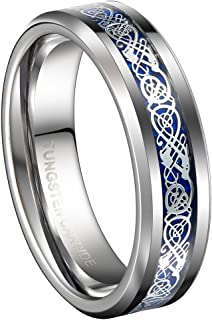 6mm Tungsten Wedding Band Celtic Dragon Women's Ring Comfort Fit