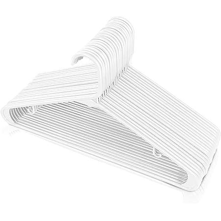 Utopia Home Plastic Standard Hangers for Clothes Tubular Hangers - Durable, Slim & Sleek (White, 30 Pack)