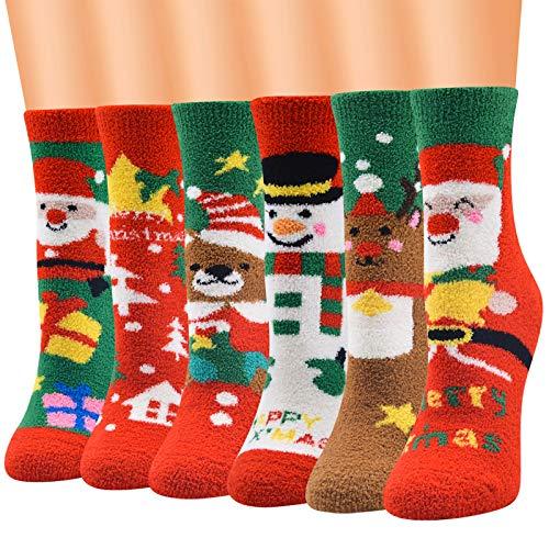 Ousuga Women's Christmas Fluffy Socks,6 Pairs Fuzzy...