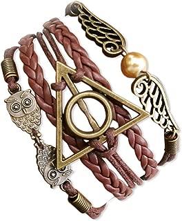 VONDER Handcrafted Harry Potter Bracelet,Bronze Owls Wings Golden Bead Charm Leather & Rope Wristband Bracelet