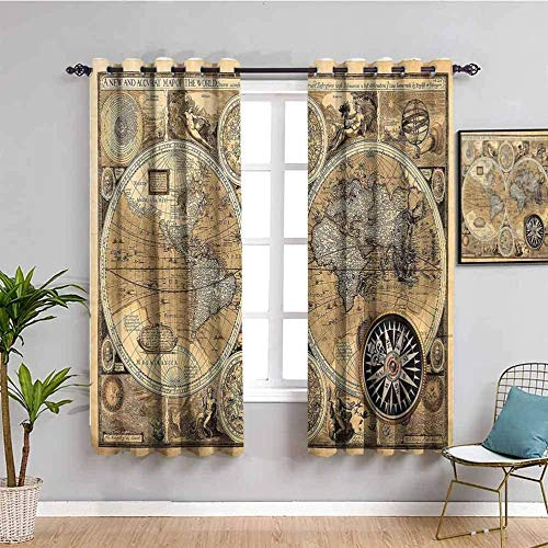 Nileco Soundproof Blackout Curtain, Beige Retro Map Nautical 104X83 Inch Suitable For Living Room Energy Saving Room Darkening Curtain, Suitable For Sliding Glass Door Living Room Bedroom Children'S R