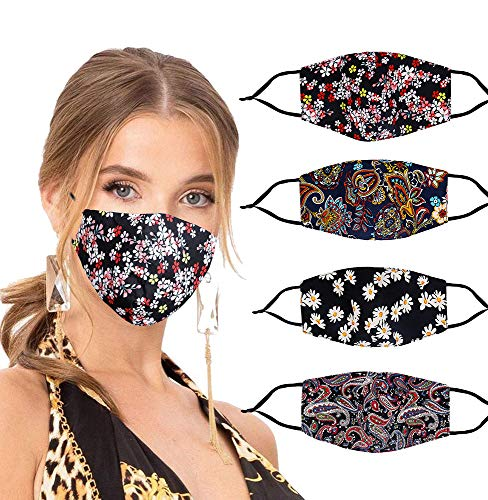 YUESUO Designer Pretty Cloth Face Mask Breathable Thin Floral Flower Cute Print Patterned Funny Reusable Washable Adjustable Fashion Cotton Cooling Fabric Pink Lightweight for Sport Men Women(Gold)