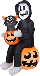 Halloween Inflatable Skeleton Reaper Holding a Pumpkin w/Black Cat Inside By Gemmy