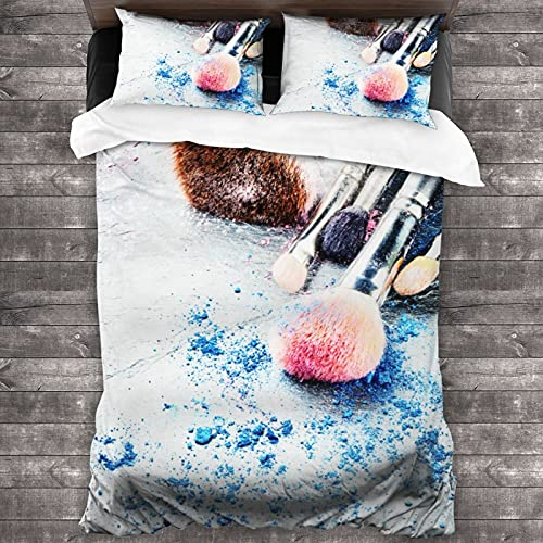 """Attducza Makeup Brushes Crushed Eyeshadow 3-Piece Bedding Set 86"""" X 70"""" Twin Full Queen King Size Soft Cozy Comforter Sets for Home Bedroom Hotel with 2 Pillowcase"""