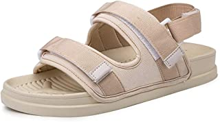 Comfortable Skid Resistance Fashion Outdoor Sandals for Men Beach Shoes Hook&Loop Double Straps Round Open Toe Backless Anti-Slip Flat Breathable Fabric (Color : Beige, Size : 6 UK)