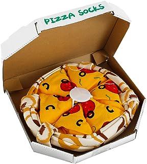 Your's Bath, 4 Pares Calcetines de Pizza Talla 39-44 para Unisex Mujer Hombre, Calcetines en Caja de Pizza, Pizza Creativa Italiana Hawaiana Mixta Regalo Divertido