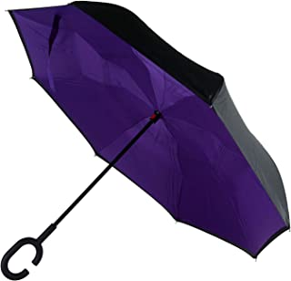 Darkno Inverted Umbrella,Double Layer Reverse Umbrella for Car and Outdoor Use by, Windproof UV Protection Big Straight Umbrella with C-Shaped Handle (Purple)