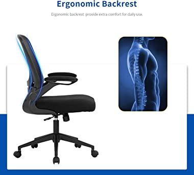 Home Office Chair Ergonomic Desk Chair Mesh Computer Chair Swivel Rolling Executive Task Chair with Lumbar Support Arms Mid B
