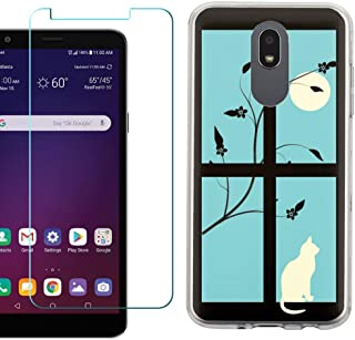 for LG Tribute Royal, Prime 2, Aristo 4 Plus, Arena 2, Escape Plus Case, Slim-Fit TPU Protective Phone Case with Tempered Glass Screen Protector, by One Tough Shield - Moon/Cat
