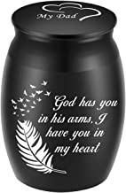 """Beautiful Keepsake Urn for Dad Ashes-1.6"""" Tall Black Cremation Urns for Human Ashes-Handcrafted Decorative Urns for Funera..."""