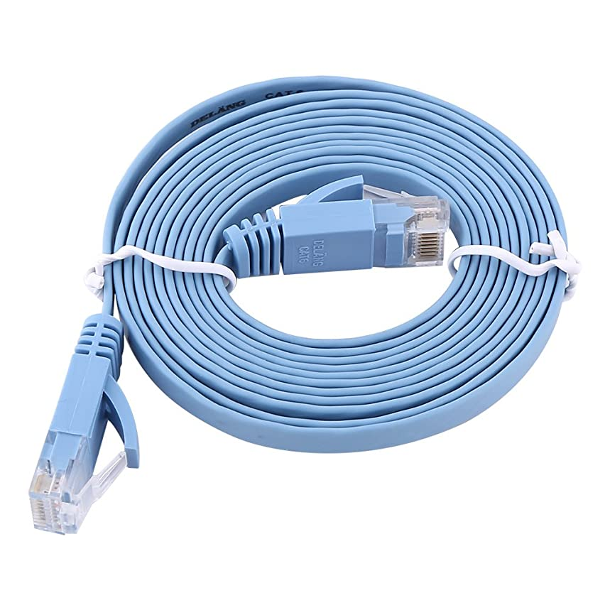 fosa Cat 6 Flat Ethernet Cable, Slim Long Computer LAN Internet Network Cable, Fast Ethernet UTP Patch Cable in Blue with Snagless Rj45 Connectors(6.5 Feet (2 m))