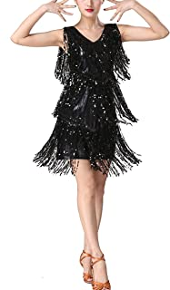Whitewed V Neck 1920s Sequin Fringe Charleston Flapper Dance Dresses Costumes
