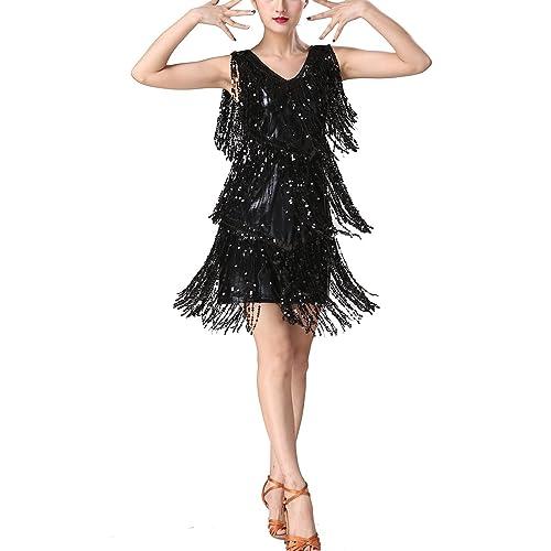 6e2802f26fe1 Whitewed V Neck 1920s Sequin Fringe Charleston Flapper Dance Dresses  Costumes