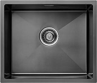 CECIPA - Fregadero de cocina (1 cubeta negra, 50 x 43 x 18,5 cm, acero 304 inoxidable para cajas de 50 cm de ancho mínimo ...