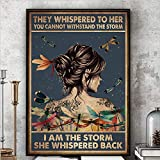 Inspirational Quote Wall Art Canvas Print Butterflies Girl They Whispered to Her You Cannot Withstand The Storm Back Unframed Canvas Wall Art for Bedroom 16x24inch