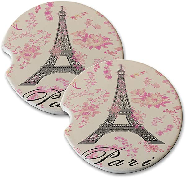 New Vibe Paris Eiffel Tower Pink Flowers Round Absorbent Natural Stone Car Coaster Set Set Of 2 Auto Drink Coasters