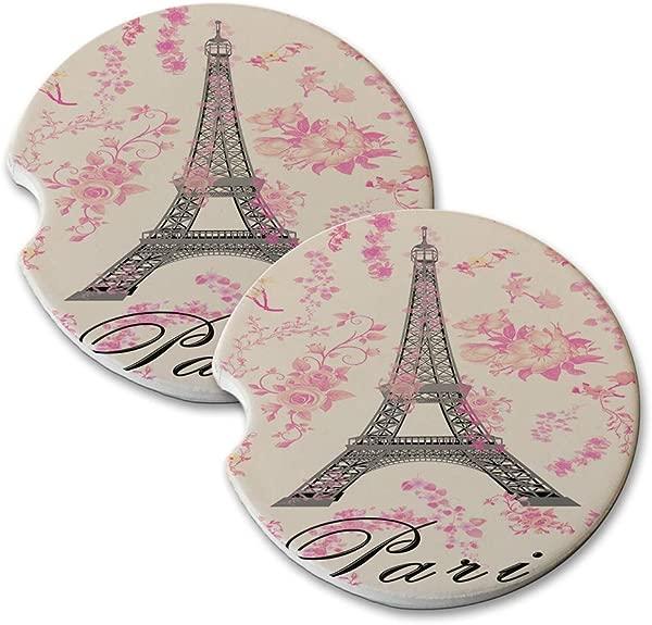 新款 Vibe 巴黎埃菲尔铁塔粉色花朵圆形吸水天然石汽车杯垫套装 2 件套汽车饮料杯垫