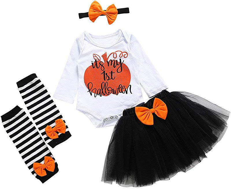 Jin Co 4PCS Baby Girls Outfits Suits Halloween Cartoon Letter Printed Romper Tutu Skirt Hairband Leg Sets Costume