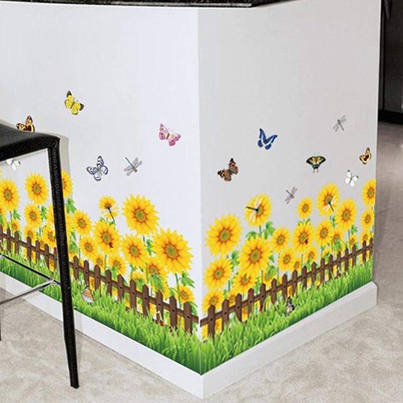BIBITIME Green Grassland Fence Yellow Sunflower Wall Border Sticker Dragonfly Butterfly Vinyl Decals Peel And Stick Home Art PVC Murals For Living Room Nursery Bedroom Children Kids Room Decor