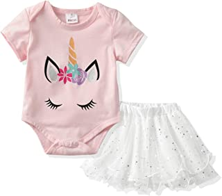Infant Baby 2Pcs Outfit Girls Romper Jumpsuit and Tutu Skirt Clothing Sets for Newborn-12Month Baby