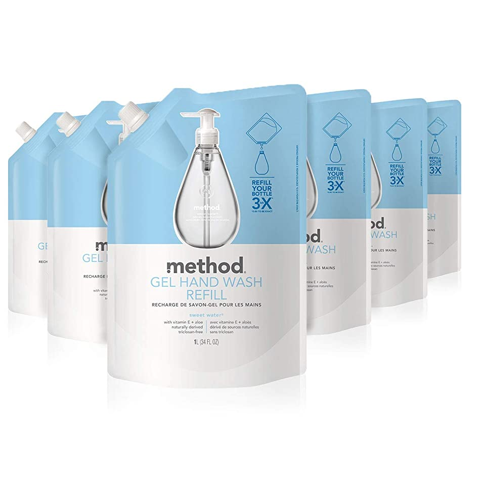 Method Gel Hand Soap Refill, Sweet Water, 34 Ounce (Pack 6)