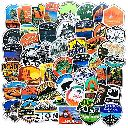 National Park Stickers (50 pcs) | Adventure Nature Outdoors Hiking Camping Skiing Travel Stickers | Cool Suitcase Stickers Decals for Car Bumper Luggage, Laptop, Water Bottle, Phone Case