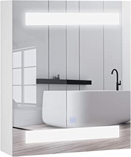 HOMCOM Miroir Lumineux LED Armoire Murale Design de Salle de Bain 2 en 1 dim. 50L x 15l x 60H cm MDF Blanc