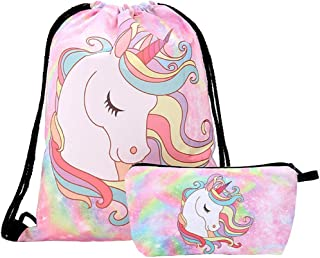 INTVN 2pcs Unicorn Drawstring Bouquet Pocket Bundle Bag para Funda cosmética de Fitness (Rosa)