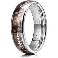 THREE KEYS JEWELRY 6mm 8mm Tungsten Wedding Ring Koa Wood Antler Turquoise Arrows Inlay Vikings...