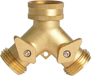 HYDRO MASTER 0710401L 2 Way Garden Hose Splitter, Hose Connector, Heady Duty Solid Brass Shut Off Valve