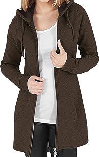 KIDSFORM Women's Long Hoodies Ladies Plain/Tie Dyed Hoodie Long Sleeves Zip Jacket with Pockets