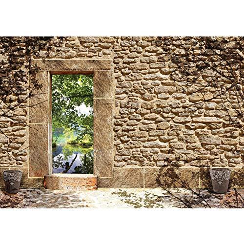 Vlies Fototapete PREMIUM PLUS Wand Foto Tapete Wand Bild Vliestapete - Naturstein Feldstein Sandstein mediterran - no. 3346, Größe:416x254cm Vlies