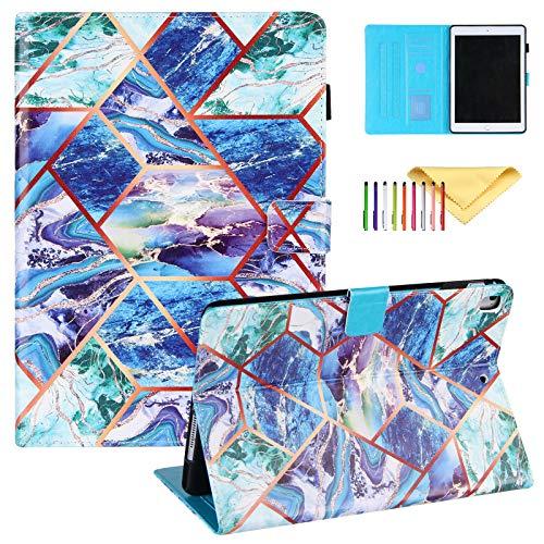 Uliking Funda para iPad 9.7 2018/2017, iPad Air 2/1, funda Pro 9.7 con soporte para lápices, pintura de mármol, piel sintética, función atril, soporte de visualización multiángulo, color azul y verde