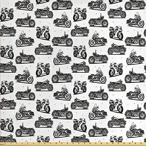 Ambesonne Motorcycle Fabric by The Yard, Retro Motorcycle Drawings of Old-Fashioned and Modern on White Background, Decorative Fabric for Upholstery and Home Accents, 1 Yard, White and Black