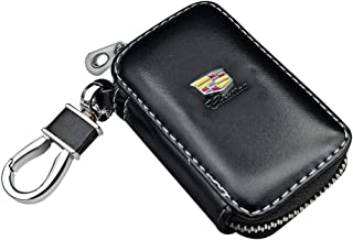 VILLSION Car Key Holder Genuine PU Leather Key Fob Case with Stainless Steel Hook with Metal Zipper Keychain, Black