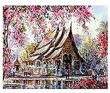 Chen Hao International Sales Store Aliviando Relajante Flores de durazno Paisaje DIY Pintura Digital por números Arte Moderno de la Pared Pintura de la Lona Decoración del hogar Pintura-1