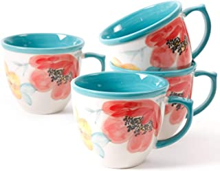The Pioneer Women Flea Market Decorated Coffee Cup, Floral Turquoise, Set of 4