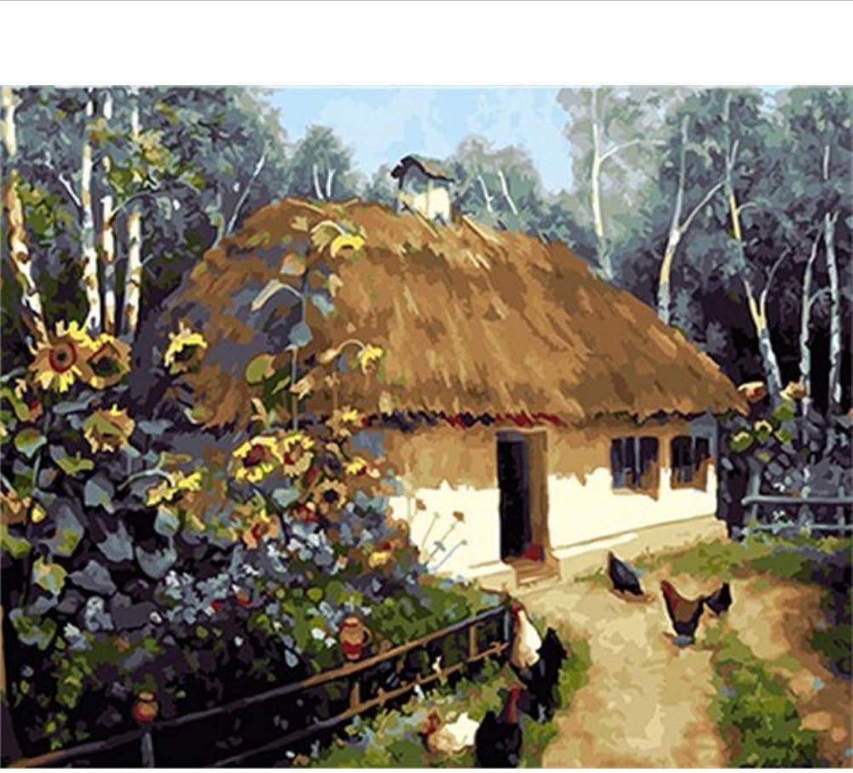 Waofe  Dorf Gerahmte Bilder Diy Malen Nach Zahlen Acrylmalerei Auf Leinwand Wandkunst Für Wohnzimmer Wohnkultur B07PS4Z23T | Verwendet in der Haltbarkeit