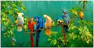 YANHUA Images modernes sur toile - Perroquet multicolore - Décoration murale pour chambre à coucher - Sans cadre - 30 x 60 cm