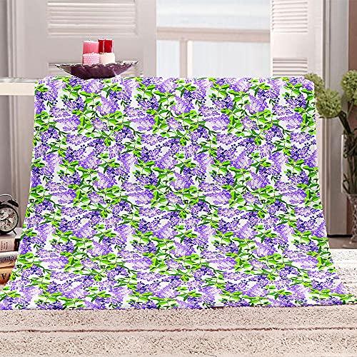 Manta de Microfibra Franela 3D Lavanda Morada Manta de Cama Estampada Plaid Suave poliéster Mantas per Niños Adultos Manta Suave para Viaje 100x130cm