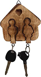 Crafkart Set of 2 Wood Key Ring Chain with Holder - Couple Goals Wooden Couple Key Chains Key Ring Set - Handmade Keyring Keychain and Key Holder - Couple Goals