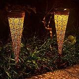 Osaloe Lantern Solari per Giardino, 2PCS Lampade Solari Impermeabili Stile Marocchino Ferro per Esterno, Perfetto per il Giardino,il Prato, il Balcone