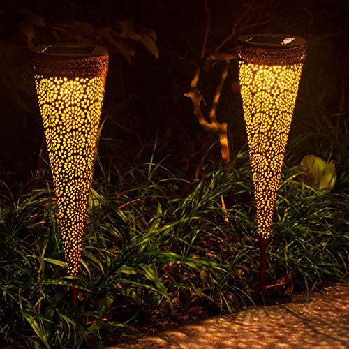 Osaloe Lámpara Solar Exterior, Luz de Jardín de impermeable IP65, Iluminación Decorativa Solar LED, Luces Solares Inalámbrico para Fiesta, Parque, Boda, Senderos, Patio, Navidad (2 Piezas)