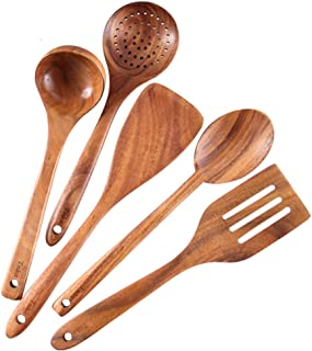 Healthy Cooking Utensils Set Wooden Cooking Tools and storage wooden barrel- Natural Nonstick Hard Wood Spatula and Spoons - Durable Eco-friendly and Safe Kitchen Cooking spoon (set of 5)