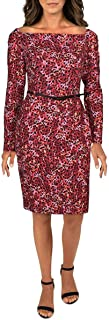 BLACK HALO Womens Red Belted Printed Long Sleeve Boat Neck Knee Length Sheath Wear To Work Dress AU Size:10