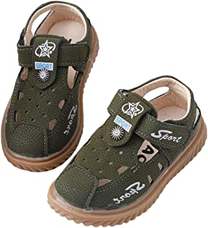 Hopscotch Baby Boys PU Tstrap Sandals in Green Color