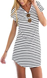ZEZKT Bekleidung Damen Kleider Sommer Gestreift Party Strand T-Shirt-Kleid Oversize Longshirt Jumpsuits Rundhals A-line Minikleid Elegant Casual Kleid Ärmellos Jersey Rockabilly Vintage