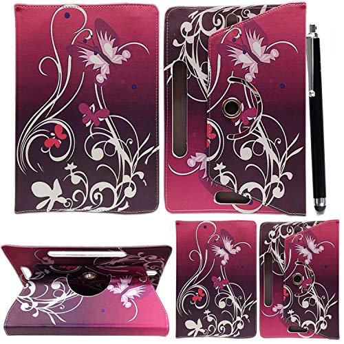 """Colourful Stuff Étui Universel en Cuir, Rotatif à 360° pour Tablettes Androïdes de 10'' et 10,1'' + Stylet Tactile Universal 10.1"""" & 10"""" Papillon/violet"""